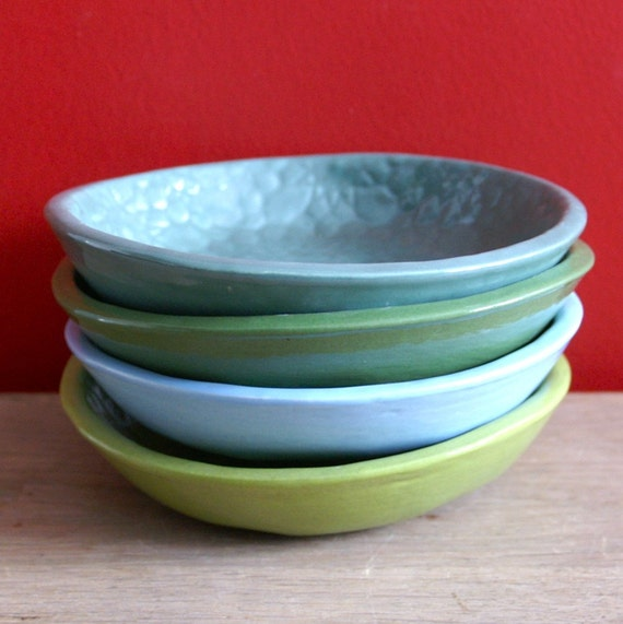 Azul Biscuit Bowl - medium handmade bowl - Wobbly Plates Series