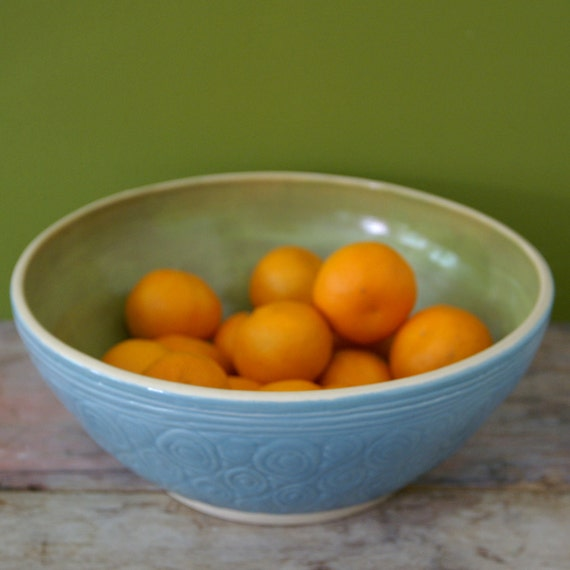 Lime & Turquoise Bowl - large wheel thrown bowl - Belly Bowls