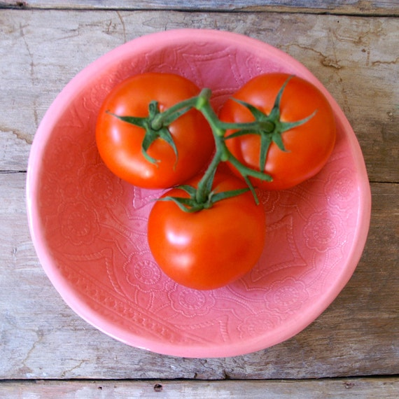 Pink Bolillo Bowl - large handmade bowl - Wobbly Plates Series