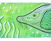 Lake Sturgeon - Original Watercolor Nature ACEO