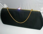 Vintage Bobbie Jerome Crystal and Satin Eveningbag
