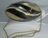 Football Shaped Vintage Crystal and Two Tone Metal Shoulderbag by  Elaine