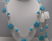 Turquoise and Freshwater pearl Flowers Necklace and Earrings Set
