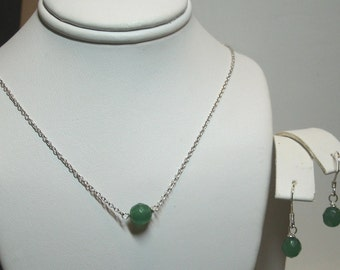Emerald Solitaire Necklace and Earrings Set