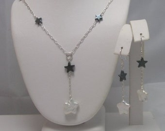 Star Pearl and Hematite Necklace and earrings set