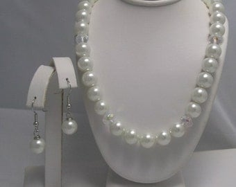 The Jordin Necklace and Earrings Set Faux pearl set