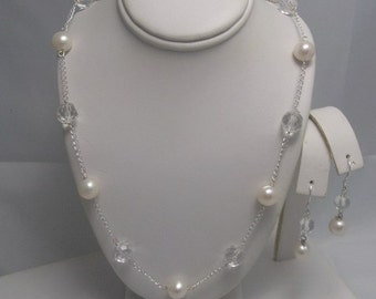 Crystal and Pearl Tin Cup Necklace, Earrings Set