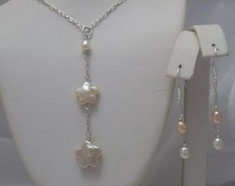 Double  Flower Pearl Lariat Style necklace and earrings set