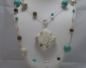 Turquoise and Tigers Eye Quartz  Necklace w/ Detachable Pendant Sterling Silver