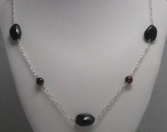 Genuine Garnet  and Sterling Silver Station Necklace