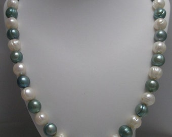 Genuine Freshwater Green and White Color Pearl Necklace
