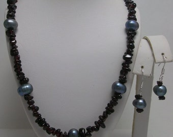 Genuine Garnet and Pearl Necklace and Earrings Set in Sterling Silver One of a Kind