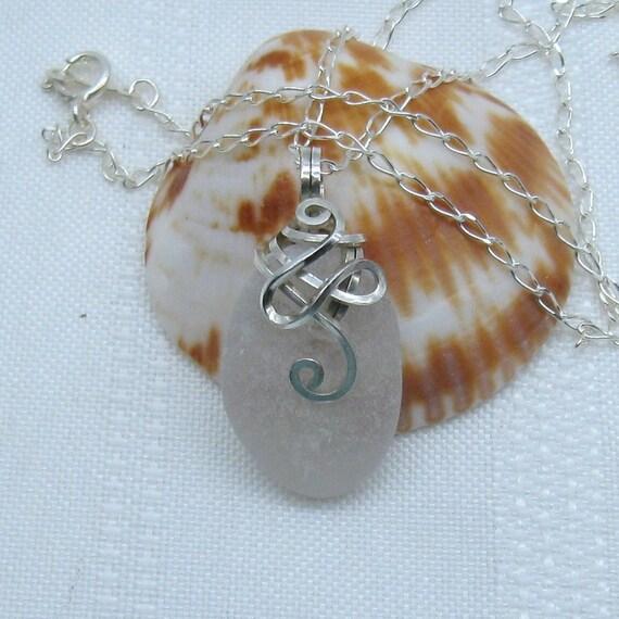 Sea Glass Necklace - White Seaglass Pendant - Beach Glass Jewelry