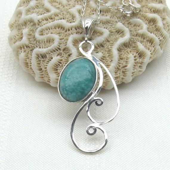 Blue Amazonite Necklace - Amazonite Pendant - Gemstone Jewelry - Blue