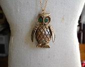 Vintage Owl Locket Perfume Locket on Long Chain