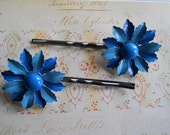 Blue Enamel Flowers on Gunmetal Bobby Pins Upcycled 1950s
