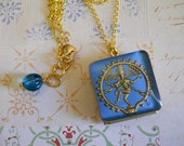 Vintage Locket with Glass Shiva Cabochon Book Style Locket with Dainty Chain and Beaded Necklace Extender