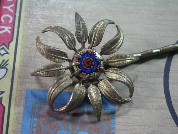 Upcycled Brass Flower Bobby Pin with Glass Cabochon Center  1940's Vintage Recycled Jewelry