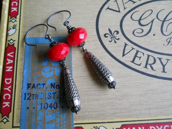 Silver Dangle Earrings with Stunning Red Glass Beads and Sterling Silver Earwires
