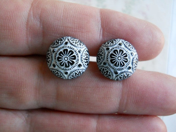 Black and White Glass Carved Ornate Cabochon Post Earrings