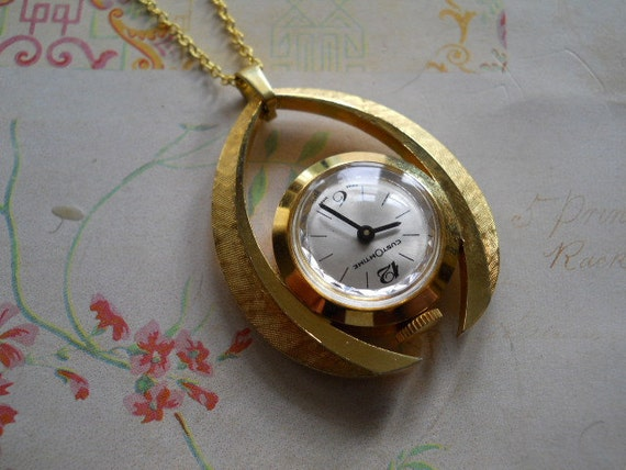 Vintage Watch Pendant Wishbone Shape Goldtone Metal in Working Order on Long Gold Plated Chain