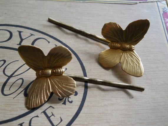 Large Brass Butterflies on Brass Bobby Pins Woodland Nature Springtime