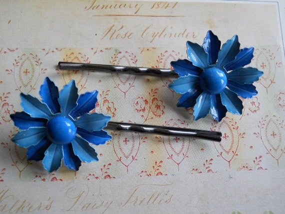 Blue Enamel Flowers on Gunmetal Bobby Pins Upcycled 1950s