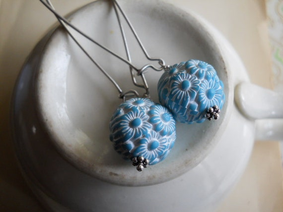 Molded Lucite Beads in Blue and White on Long Silver Kidney Earwires