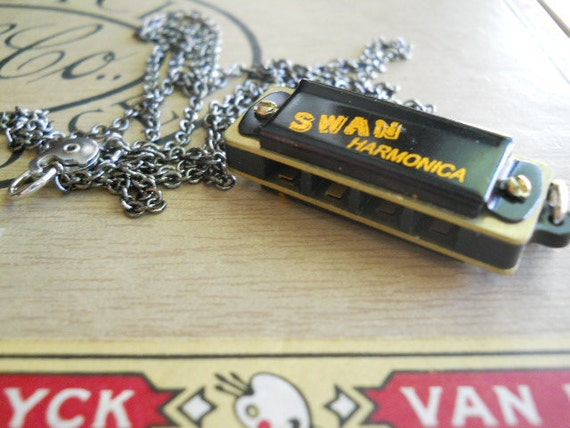 Harmonica Necklace Small Working on Long Gunmetal Chain Musical Instrument
