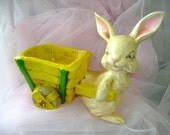 70s vintage Easter chalkware Rabbit Bunny planter cart dish Vase decoration Party novelty