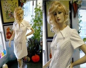 vintage 60s 70s Mod white dress polyester scooter girl Nurse costume summer spring