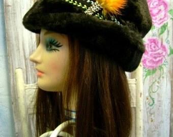 60s vintage Mens dark Brown Hat faux fur winter warm union made