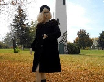 50s vintage Runway mink fur collar Coat forstmann stevens fabric wool Mink Hat Designer Warm Winter Corture