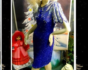 vintage 80s Shining Star Electric Cobalt Blue new years party formal costume Prom Cocktail evening dance