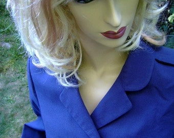 vintage military jacket women wool double breasted costume Size Medium