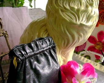 30s 40s vintage Purse handbag Leather kiss closer Costume Holiday Prom Dance