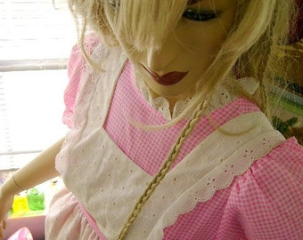 70s vintage dress pinafore pink gingham baby doll girls long eyelet costume