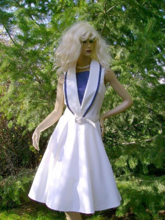 80s nautical spring summer dress vintage cruise