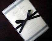 Cream, Black Formal Wedding Invitation, Vellum, Elegant Wedding Invitations, Unique, Romantic, Traditional, Ribbon Wedding Invite -Sample