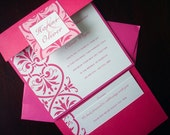 Regal Fuchsia Wedding invitation, Pink Square pocket Wedding Invitations, Damask, Unique, metallic, Elegant invite, bat mitzvah -Deposit