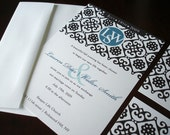 Morrocan wedding invitation, Black wedding invitation, turquoise Invitations, unique muslim invites, elegant invitation, indian invitations