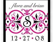 Personalized Hot Pink Black Ornate Glossy 2x2 Wedding Monogram Stickers - 48 - Modern Elegant shower favor labels - Wedding Invitation Seals