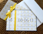 Yellow polka dot Wedding Invitation, Unique wedding invitations, Modern, fun, Vellum, Elegant, Playful, Bat mitzvah invite -Deposit to start