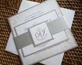 Nautical Vintage Wedding Invitation, Cruise ship wedding invitations, Anchor wedding invitation set, silver wedding invite, metallic -Sample