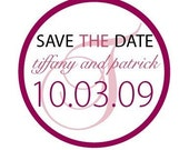 Circle custom bridal shower wedding  'Save the Date and Thank You' Stickers  labels 24 pack