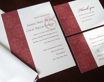 Moroccan wedding invitation, elegant wedding invitation, deep red Invitations, unique muslim invites, Indian invitation, simple invitation