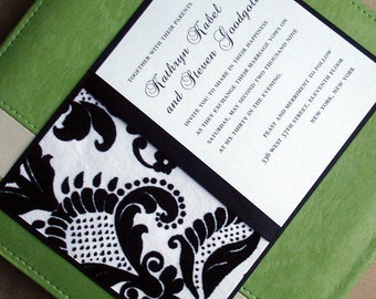 Textured vintage Damask Black wedding invitation card, elegant wedding invitations, quinceanera, unique, romantic invite, bat mitzvah