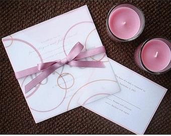 Vellum Wedding Invitation, formal bow invitation, Elegant wedding invitation, pink wedding invitation, Bat Mitzvah invite, sweet 16 invites