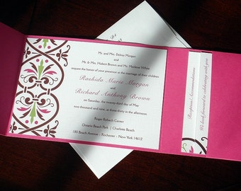 Hot Pink Damask PocketFold Wedding Invitation card, Green Boho unique pocket Wedding Invitations, elegant, Romantic, Bat Mitzvah invite