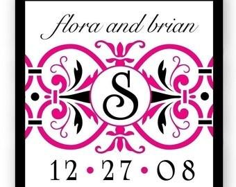 Hot pink custom Wedding Stickers, monogram Wedding labels, black Wedding invitation Seals, Elegant wedding logo, personalized sticker